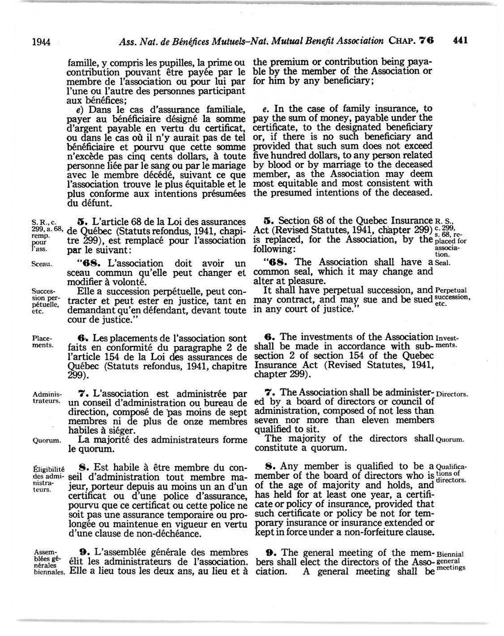 1944 Ass. Nat. de Bénéfices Mutuels-Nat. Mutual Benefit Association CHAP. 76 441 S.R.,c. 299, a. 68, remp. pour l'ass. Sceau. Succession perpétuelle, etc. Placements. Administrateurs. Quorum.
