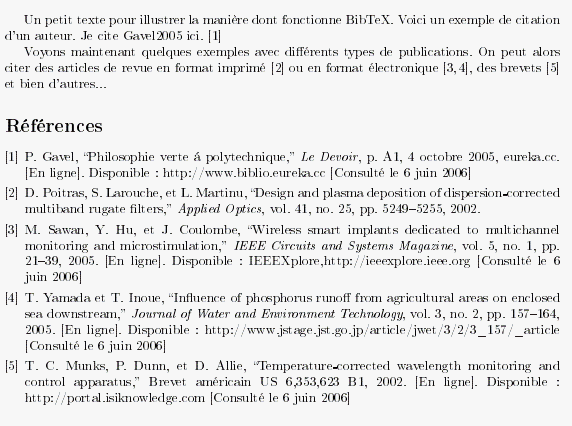 Figure 3 : extrait du document final LaTeX document_latex.pdf (utilisant le style ieeetran) : 2. Structure d un fichier BibTeX 2.