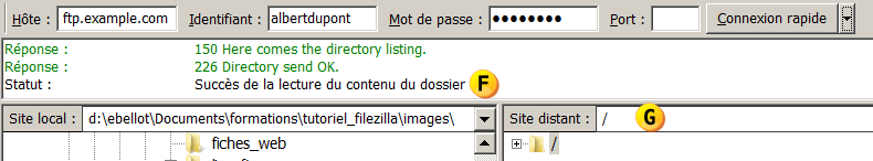Connexion de Filezilla au site distant 1. Lancez le logiciel Filezilla a. Windows : Menu Démarrer > Tous les programmes > Filezilla FTP Client > Filezilla b. MacOS : A FAIRE 2.