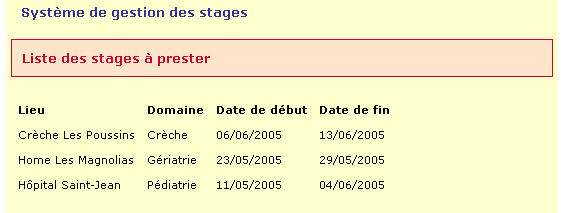 "<?php include('../modeles/retour_menu.php'); include('../modeles/pieddepage.php');?> La première requête : $sqlquery1=""select stage.domaine,stage.date_debut,stage.date_fin, stage.id_lieu,stage."