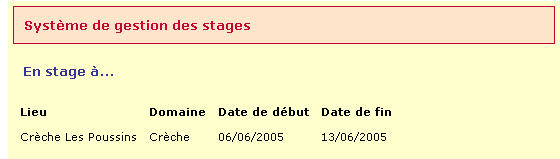 "$jds=$_post['jour_de_stage']; $jds=substr($jds,6,4).'/'.substr($jds,3,2).'/'.substr($jds,0,2); $sqlquery1=""select stage.domaine,stage.date_debut,stage.date_fin from eleve,stage where stage."