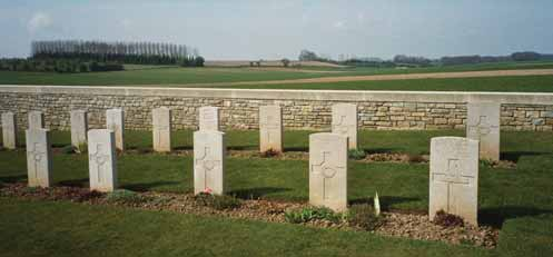 The Commonwealth War Graves Commission Cemetery at Bertrancourt, close to Colincamps, between Amiens and Arras, near where the New Zealanders helped stem the German advance of 1918.