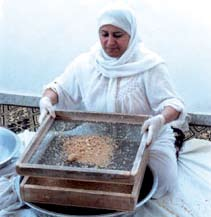 The first test is carried out after processing around 150 kg of couscous, the second after finishing half the required amount, and the third after finishing the entire needed amount.
