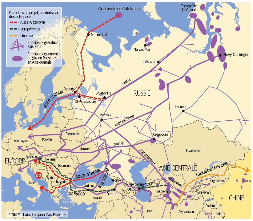 Gazoducs en Russie et Asie Centrale; source: www.alternatives-internationales.fr 2.