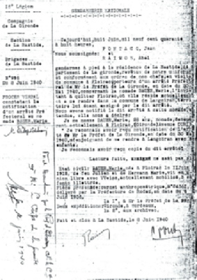 Rapport de gendarmerie. On constate que le mari est mobilisé. (Document fourni par Jean-Louis Bauer) Carte des camps d internement pour nomades.