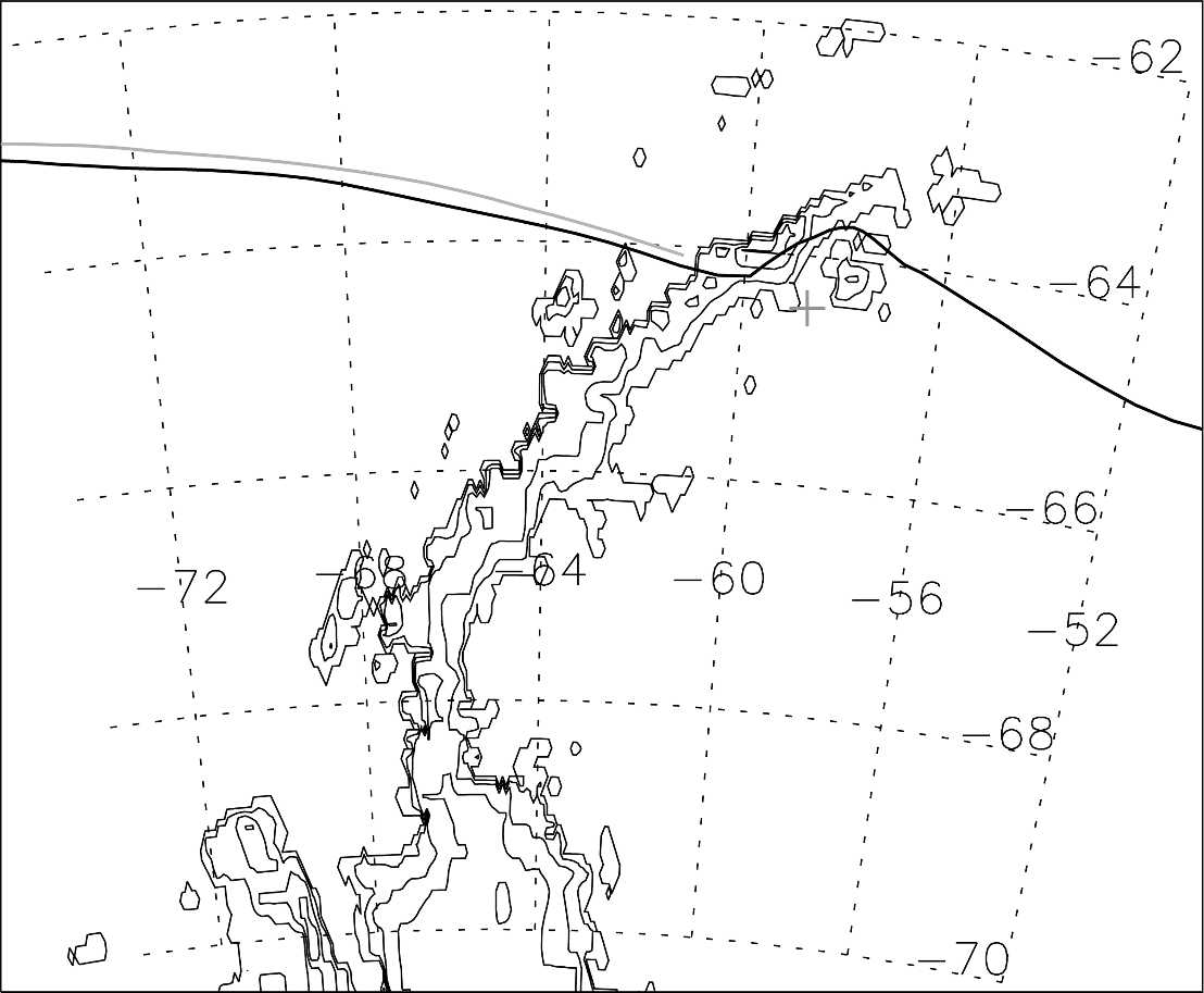 (top) Air pressure, (middle) temperature, and (bottom) helium superpressure recorded with flight 11 (black) and flight 12 (gray) on 6 7 Oct 2005. The 15-min observations are shown with crosses.
