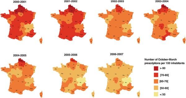 Prescriptions d antibiotiques en période hivernale, en France, d octobre 2000 à mars 2007 Figure 2. Winter antibiotic prescriptions in France by region, from October 2000 to March 2007.