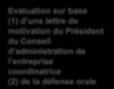 3. Critères d évaluation et de sélection (4) Scoring Min* Definition Pre-scoring 10 6 Commitment of the company coordinating the project and of the industrial partners: 2 subcriteria (to be evaluated
