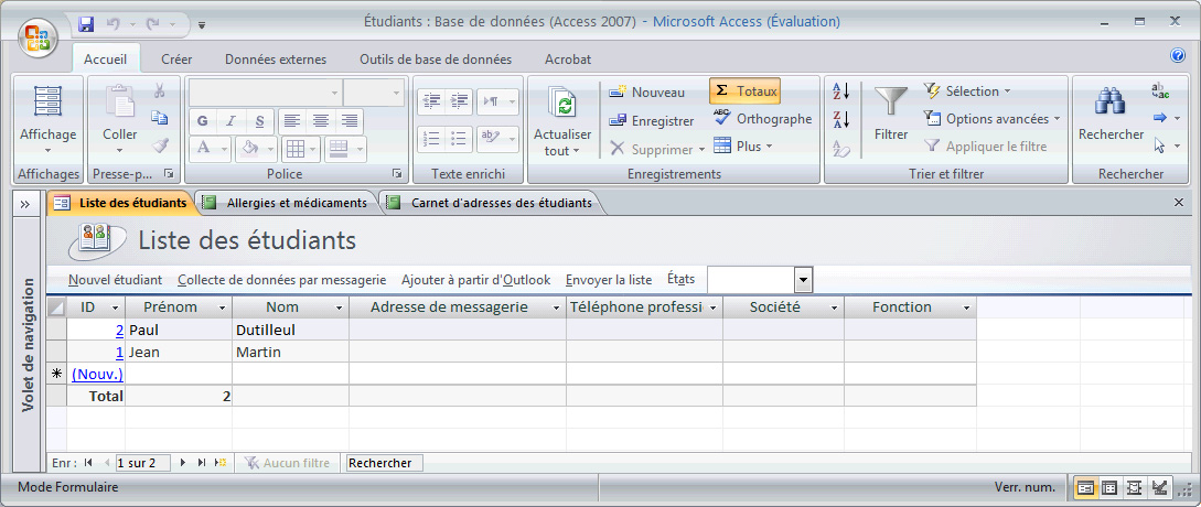 LA NOUVELLE INTERFACE D ACCESS La nouvelle interface de la version 2007 d Office Microsoft Access apparait d emblée lorsque vous avez démarré Access et ouvert une base de données.