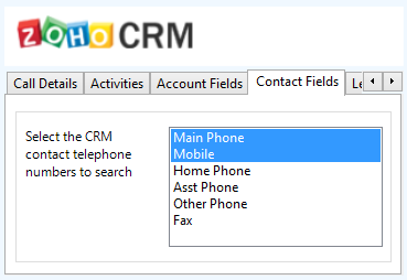 Mitel Phone Manager 4.2 Search fields The range of telephone numbers that are to be searched for can be configured for each of the Contact, Account or Lead Entities individually.