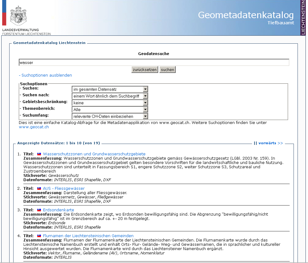 CSW in action http://geodaten.llv.