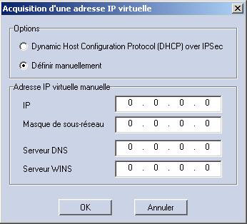 VPN Configuration manuelle d un VPN Figure 4 : Configuration de l'acquisition d'adresses IP virtuelles Configuration de l acquisition d adresses IP virtuelles 1 Accédez à VPN > Connections (VPN >