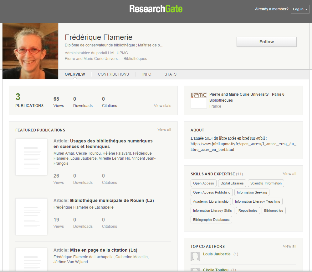 Exemple : ResearchGate Un profil :