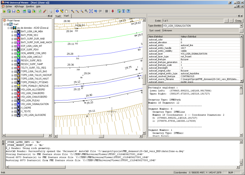 Interface graphique de FME Data Inspector Interface graphique de FME Universal Viewer Workbench est le logiciel de conception des traitements.