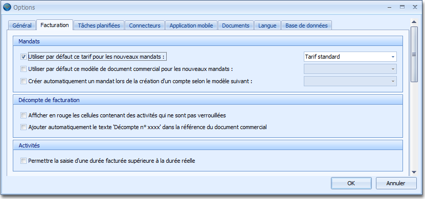 16.2. Option : Facturation Le menu Options permet de paramétrer différentes fonctions de l application OdysActivités.
