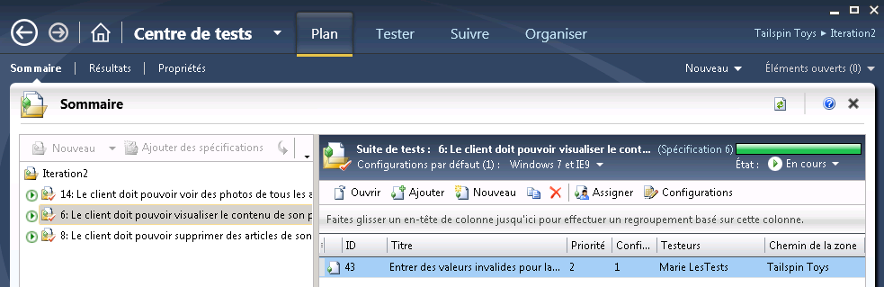15 Introduction aux tests codés de l interface utilisateur (Coded UI Tests) Figure 22 : Sélection du plan de tests Iteration2 21.