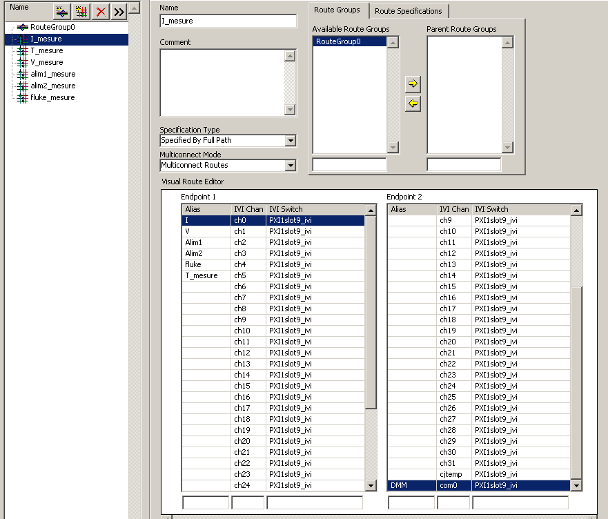 Un assistant à Labview, NI-Switch Executive, permet la création de voies virtuelles pour configurer ces commutations.