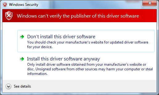 The following should appear, choose Browse my computer for driver software.