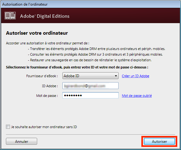 Installez Adobe Digital Editions : http://www.adobe.