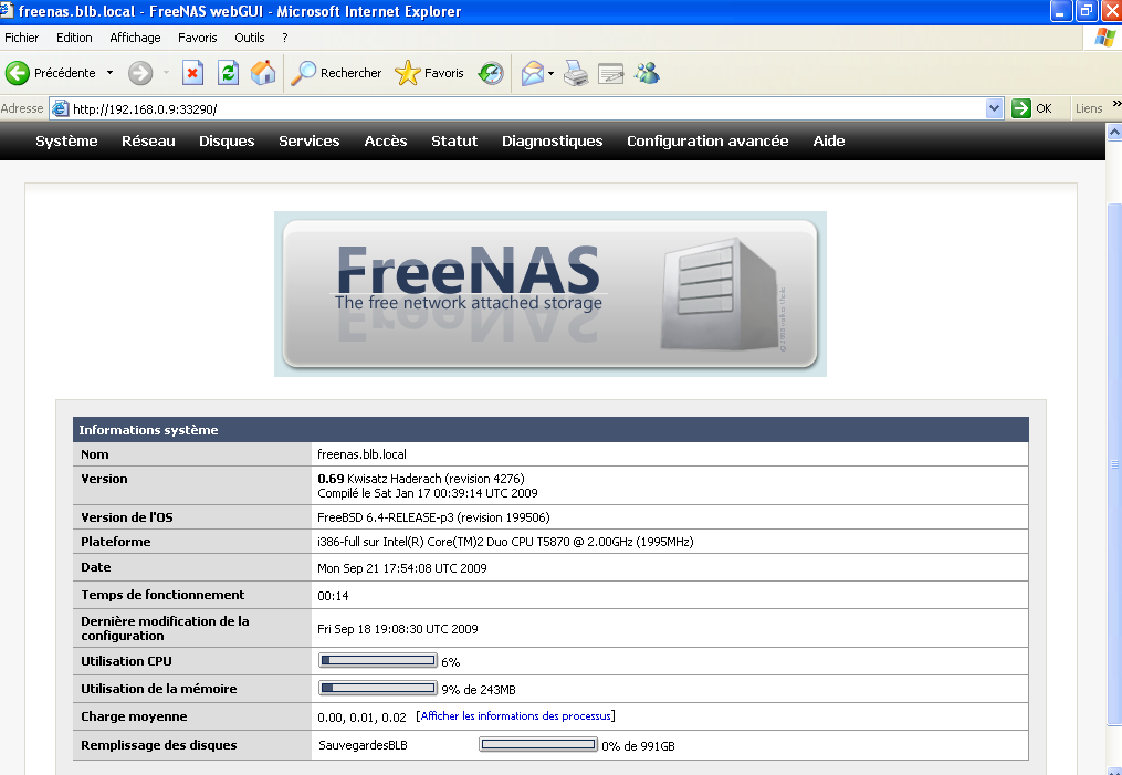Installation de freenas, configuration de l interface réseau (192.168.0.