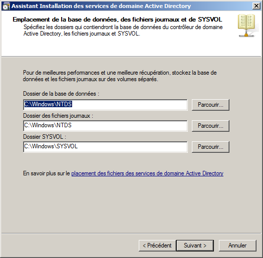 Figure 55 : Active Directory: Configuration du