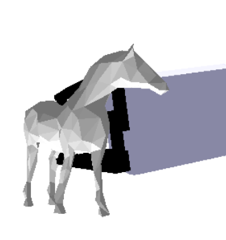5.3. Grasp Planner In Fig. 5.6, we show the solution for a more complex model like a horse formed with a bigger number of facets. We can see the grasps generated by the grasp algorithm.