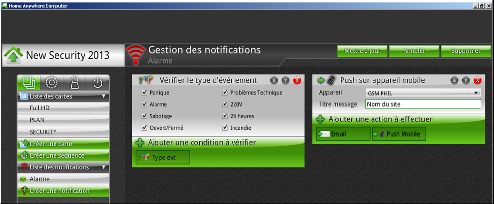 Notifications et alarmes Email via IPCOM et Home Anywhere (suite) 5.