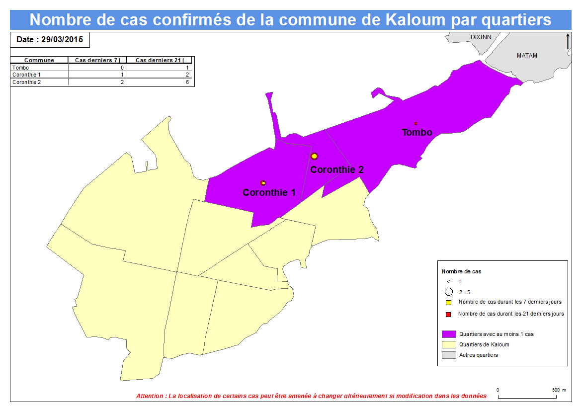 Nombre de cas Indicateurs par commune : Kaloum a.