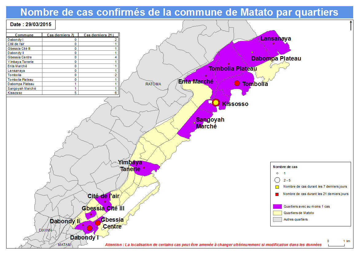 Nombre de cas Indicateurs par commune : Matoto a.