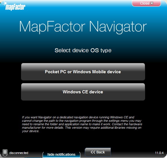 Installation du Pocket Navigator 10 Pocket PC ou Windows Mobile pour les appareil avec le système Windows Mobile (vers la version 6.5).