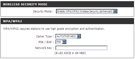 Section 3 - Coniguration 1. Pour activer Enable WPA/WPA2 Wireless Security (enhanced) [Activer la sécurité sans fil WPA/WPA2 (amélioré)]. 2.