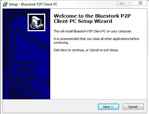 Quick Install Guide for p2p Bluestork Cameras (PC) Software Setup : The installation steps described below are for the software