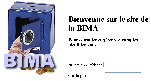 Structure du projet BIMA_V0 pages HTML (statiques) correspondant à une maquette de l'application fichiers de configuration de l'application Web package bima.