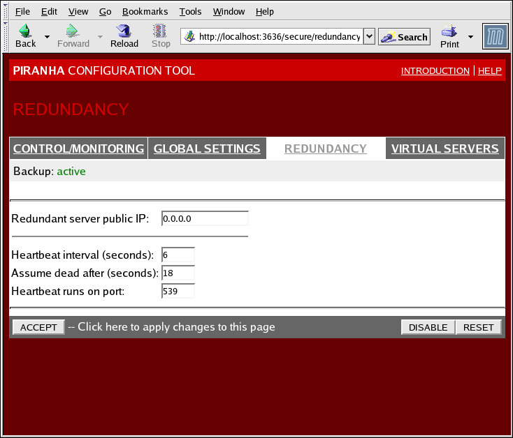 "Red Hat Enterprise Linux 5 Virtual Server Administration Remarque The first time you visit this screen, it displays an ""inactive"" Backup status and an ENABLE button."