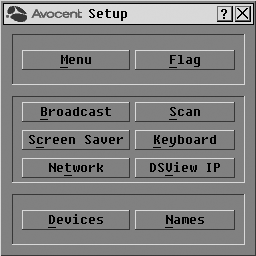 24 DSR Switch Installer/User Guide To access the OSCAR interface Setup dialog box: 1. Press Print Screen to launch the OSCAR interface. The Main dialog box appears. 2.