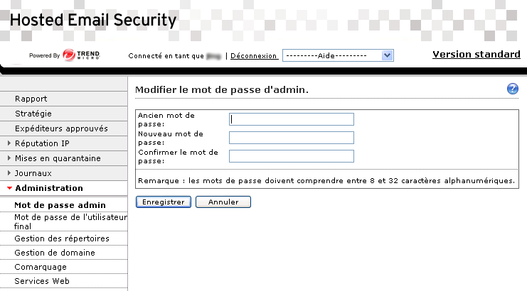 Guide de l'administrateur Trend Micro Hosted Email Security FIGURE 5-5. Écran Modification du mot de passe administrateur.
