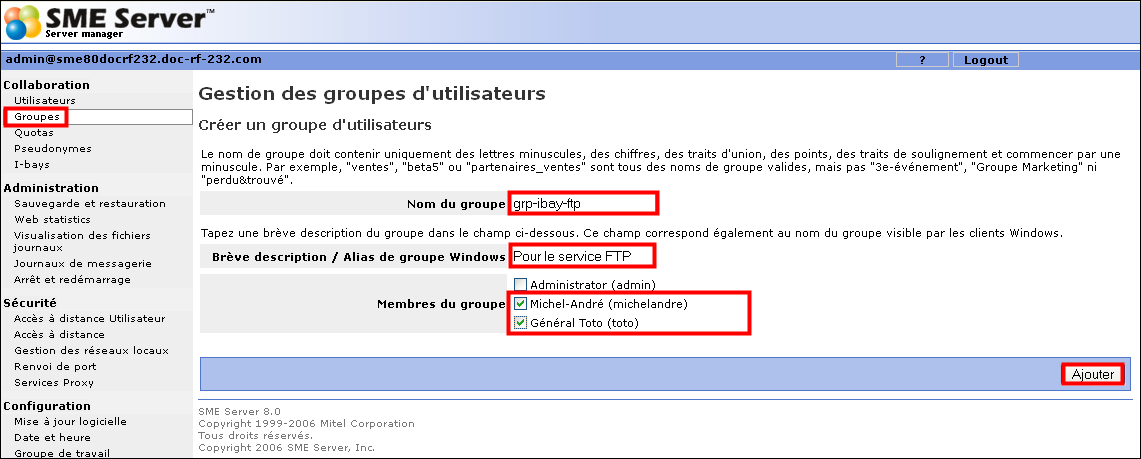 SME-8.0 & Serveur FTP III- Configuration Référence: http://wiki.contribs.org/ftp_access_to_ibays 1.