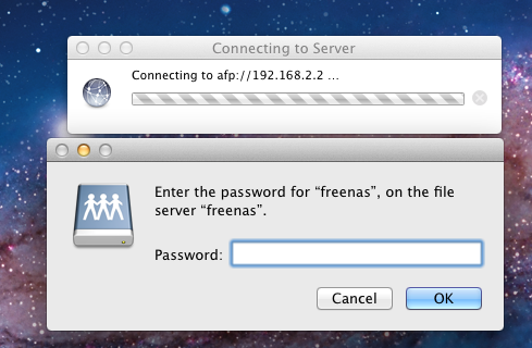 2. An AFP share with a Name of freenas has been created with a Path of /mnt/data, a Share Password has been set, the Allow List is set to nobody and Read-write Access has been set to nobody.