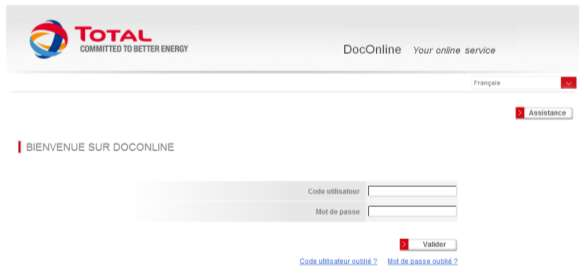 For the English version click here DocOnline Accéder et s identifier à DocOnline Bienvenue sur DocOnline, système de facturation électronique en ligne de TOTAL, conçu pour vous donner un accès