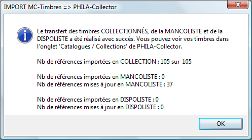 collection provenant de PHILA-Collector». Consultez la collection des timbres sur la page «Collection». La démarche inverse est réalisable.