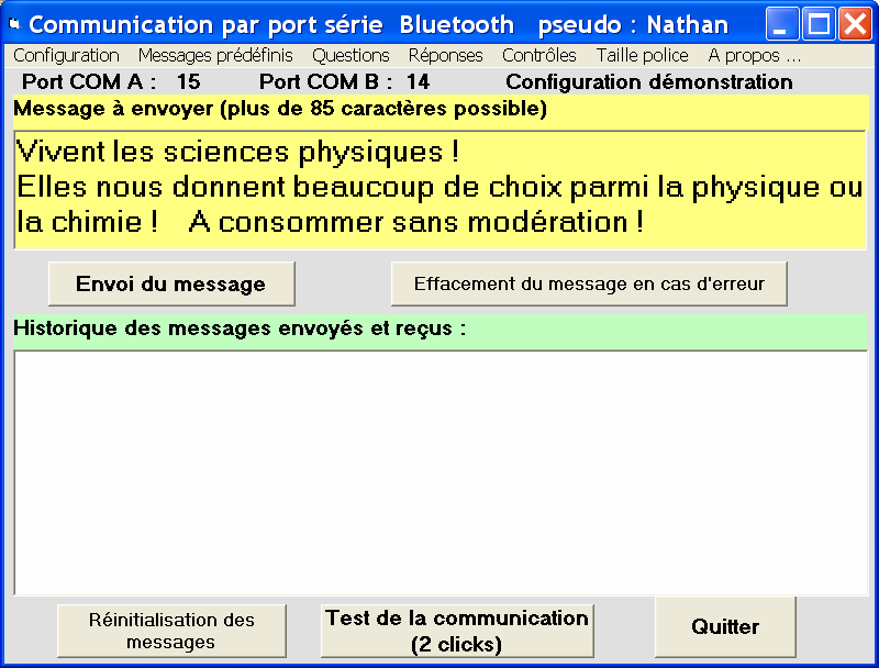 Figure 7. Exemple d aspect de l écran en mode «tchat».