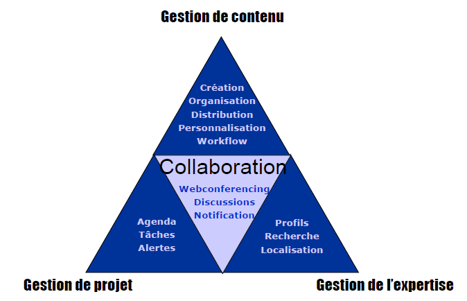 o Distribution o Personnalisation o Workflow Gestion de projet o Agenda o Taches o Alertes Gestion de l expertise o Profils o Recherche o Loacalisation Collaboration o Webconferencing o Discussions o
