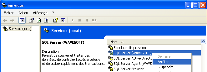 DESINSTALLATION SQL SERVER 2005/2008 Gestionnaire des services Arrêter les services - SQL Server (WAVESOFT) - SQL Server Browser Ajout/Suppression de programmes Désinstaller «Microsoft SQL Server»