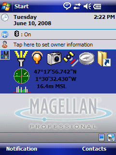 English GPS Position Tap on the GPS tool to display the GPS position information. The GPS data is represented graphically and textually.
