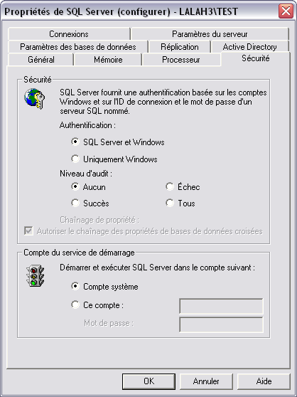 Installation SQL Server doit autoriser une authentification mixte : SQL Server et Windows.