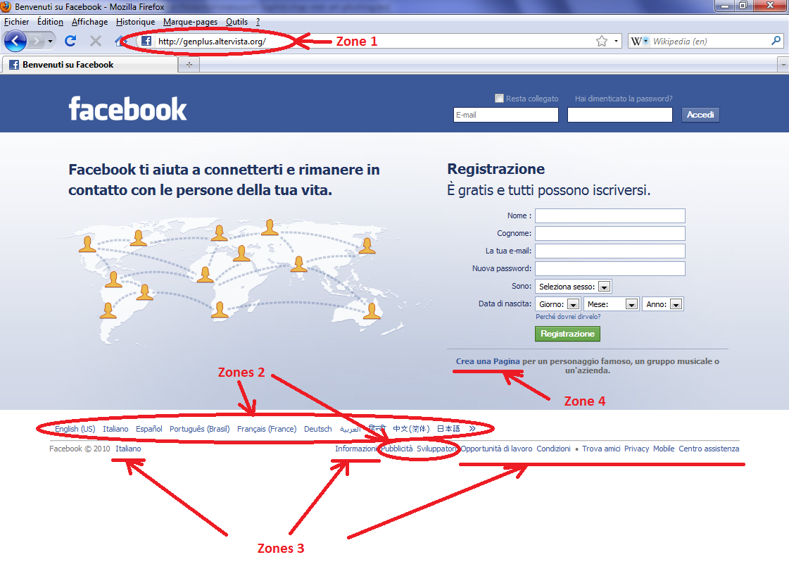 2.1. Introduction au phishing Figure 2.1 Zoom sur le site légitime italien de Facebook http://it-it.facebook.com/ Figure 2.