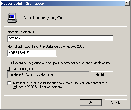 AD-DEMO: installation d'active Directory Installation d'active Directory sur une machine virtuelle windows 2003 server : Domaine suzdal.shayol.