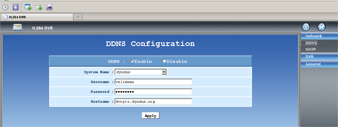 5D Select DynDns as System name. Enter the user name and password that you created in step 3B; enter the DynDNS hostname you created in step 3C. Click on Apply. Selecteer DynDns als System naam.