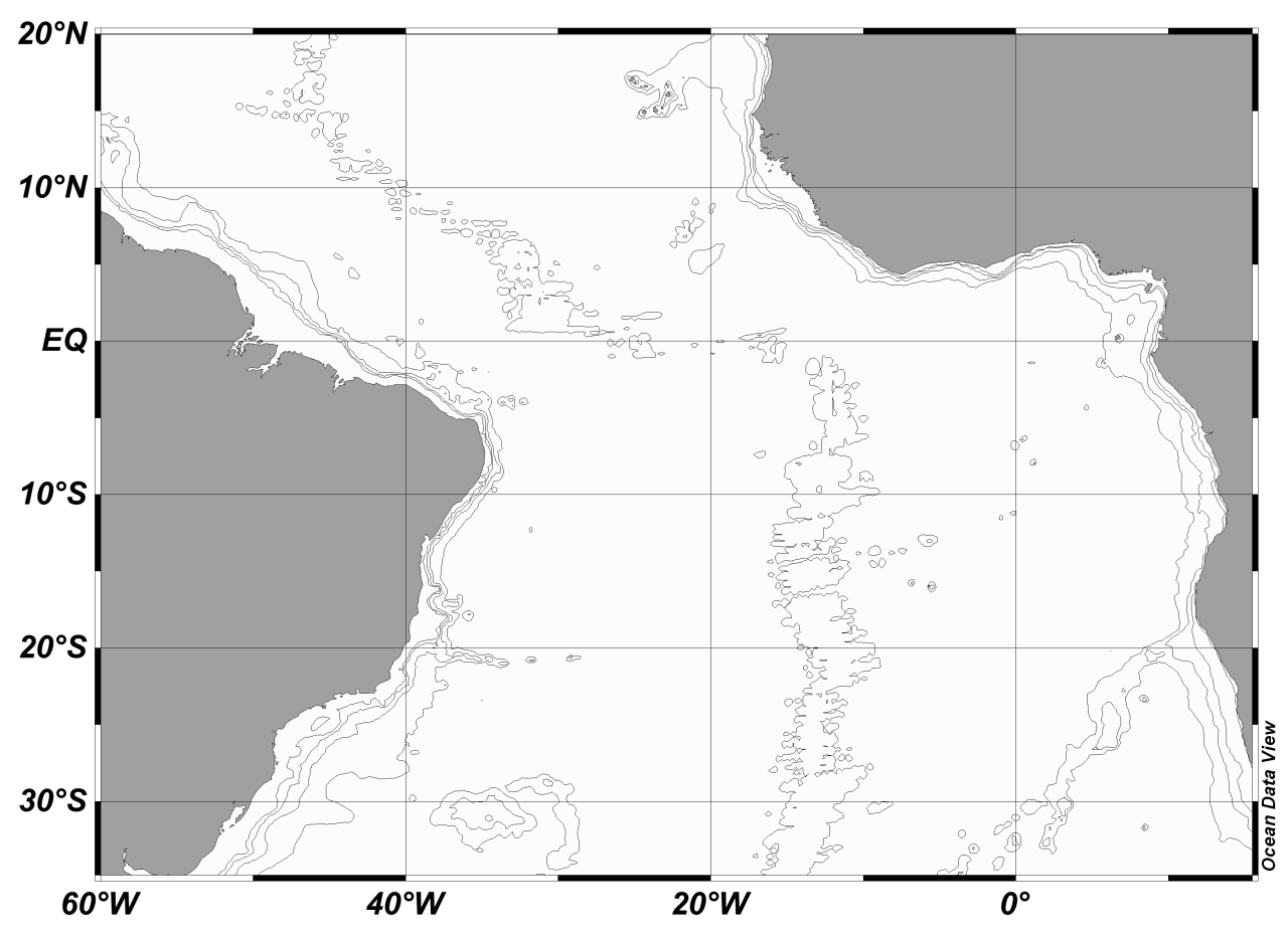 During summer and spring, at 250 to 800 m depth, a 9 Sv Western Boundary Under Current (WBUC) flows southeastwards along the Brazilian margin (Figure 2 c) (Colin and Bourles, 1994).