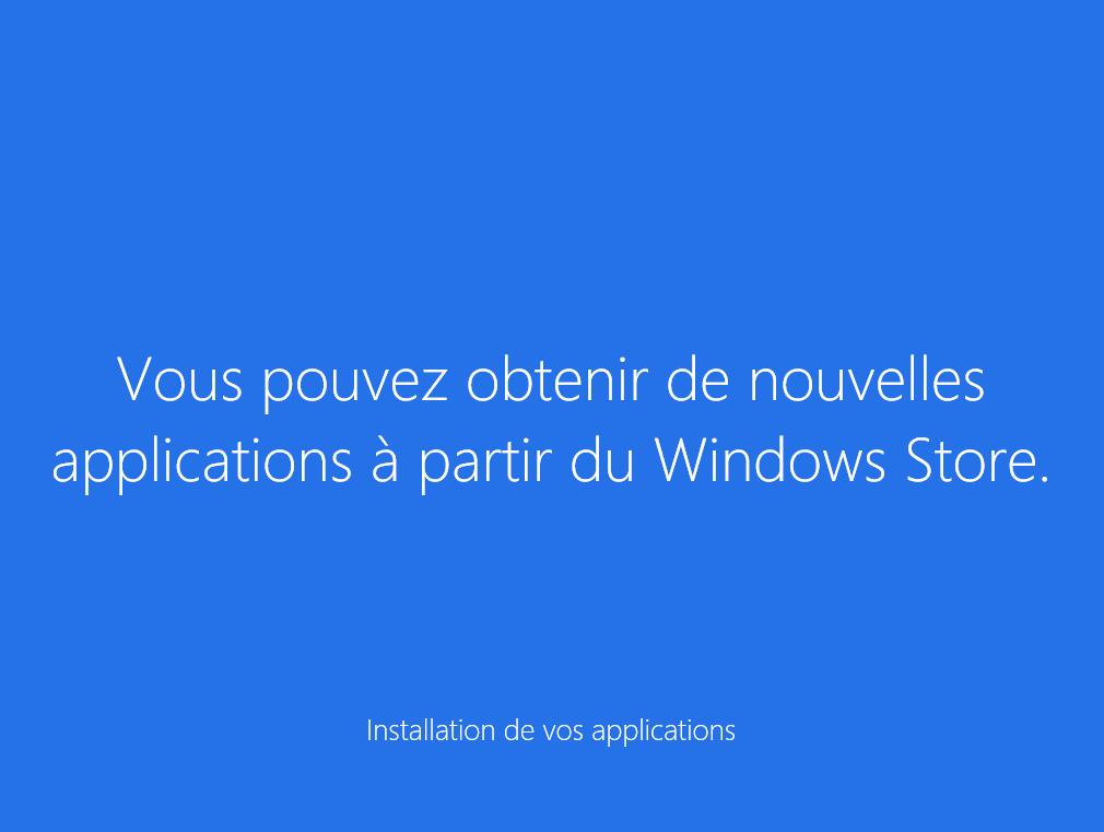 Windows configure les différentes applications et s installe.
